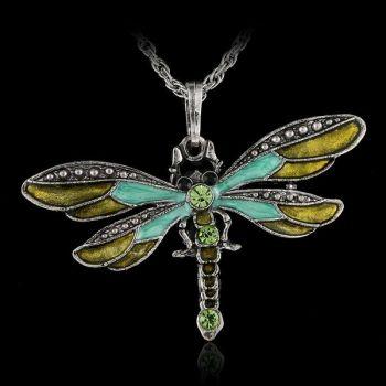 Dragonfly Crystal Necklace - Aqua
