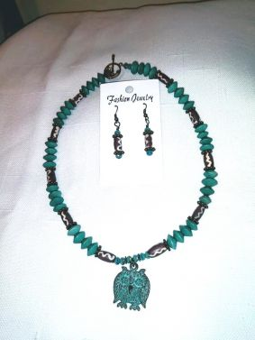 Greek Owl Casting Necklace and Earrings Set